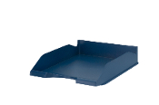Re-Solution Letter Tray, Blue. Fits letter and A4 size documents and folders and is stackable. Made of 100% postconsumer recycled polystyrene plastic material. Sold by each.