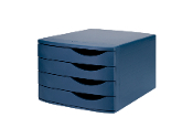 Jalema Re-Solution 4-drawer Desktop Set keeps documents organized and sorted. Made of 100% postconsumer recycled polystyrene plastic material. Blue. Sold by each.