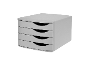 Jalema Re-Solution 4-drawer Desktop Set keeps documents organized and sorted. Made of 100% postconsumer recycled polystyrene plastic material. Grey. Sold by each.